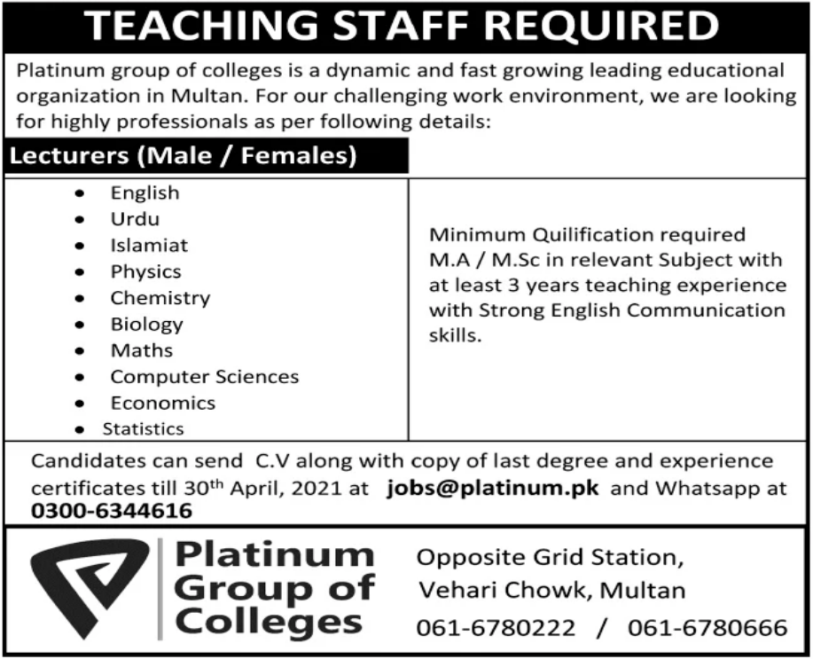 Platinum Group of Colleges Jobs